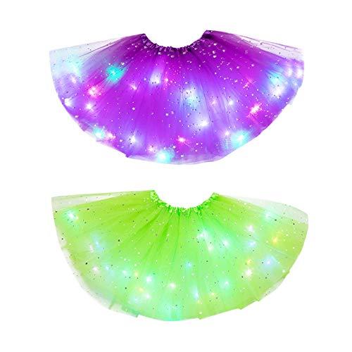 theshyer VFalda para nios Falda Luminosa y Brillante para nios Luces LED Estrellas Faldas para nias con Luces Falda de Malla de Media Longitud