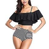 Damas Cintura Alta Bikini Traje de baño Volante Estampado patrón Tankini Traje de Damas Traje de baño de Playa fluyente (Size : S)