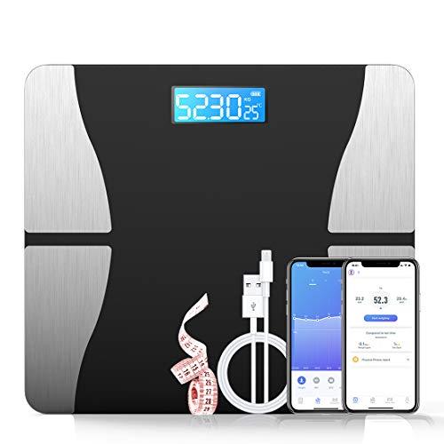 POWERAXIS kroppsfettvågar, Bluetooth kroppsfettvågar med 21 omfattande mätningar, APP Smart digital våg för mätning av kroppsfett, BMI, vikt, muskelmassa, vatten, protein, BMR
