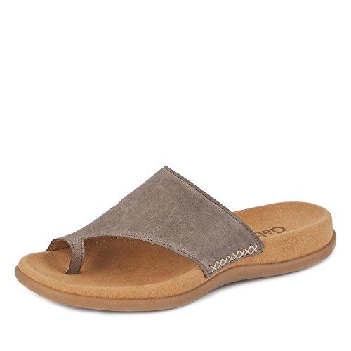 Gabor 03.700-13 Damen Pantolette feinnarbiges Glattleder vorgeformtes Fußbett, Groesse 45, Taupe