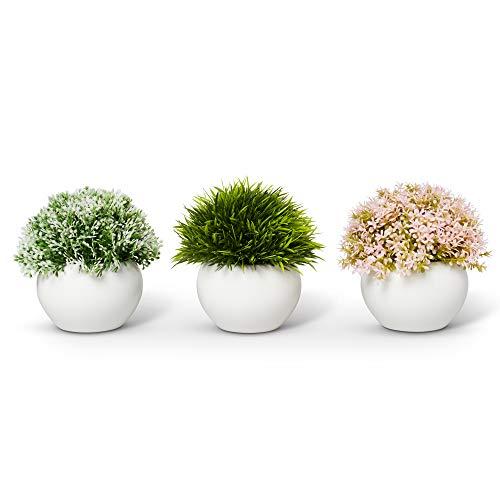 ELYSIANZE Farmhouse Plants with Pot - Artificial Plants for Decoration - Office/Kitchen/Bathroom/Bedroom/Mantle/Balcony/Home Decor - Faux Plants Set - Farmhouse Decor - Home Decor (Pink & Green)