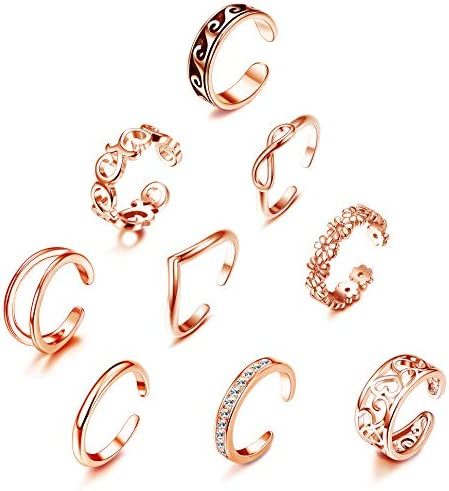 YADOCA 9 Pcs Adjustable Open Toe Rings Knuckle Ring Set for Women Vintage Foot Jewelry Various product image