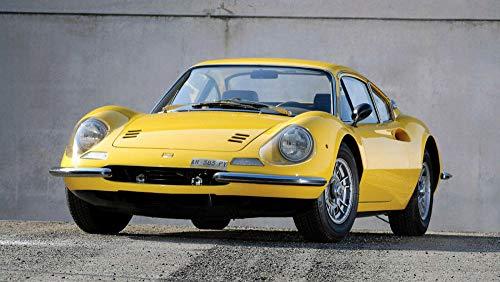 Diy 5D Diamante Pintura Kits,1966 Ferrari Dino 206 Gt Auto Coche Diamante Pintura Por Número Kit,Rhinestone Bordado De Punto De Cruz Artes Manualidades Lienzo Pared Decoración - 40X60Cm