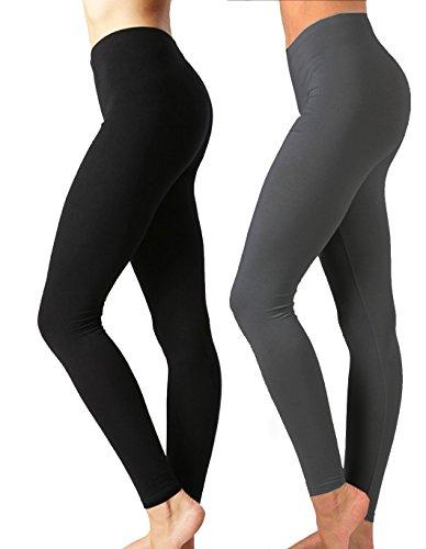 JKC USA Selected Premium Cotton Full Length Solid Color Leggings OP-1851 (Large, 2PACK-BLK-CHARC2)