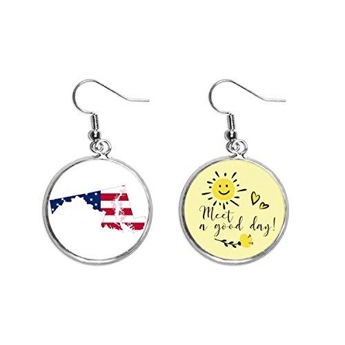 Tierra USA Mapa Estrellas Rayas Bandera Forma Oído Gota Sol Flor Pendiente Joyería Moda