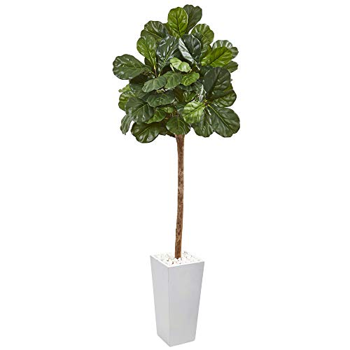"Nearly Natural 75"" Fiddle Leaf Fig Artificial White Planter Silk Trees Green"