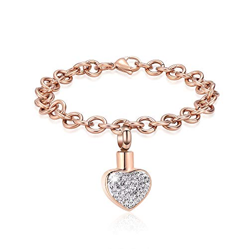 shajwo Cremation Jewelry Urn Bracelet for Ashes for Women Girl Crystal Heart Stainless Steel Bracelet Keepsake Memorial Jewelry for Ashes