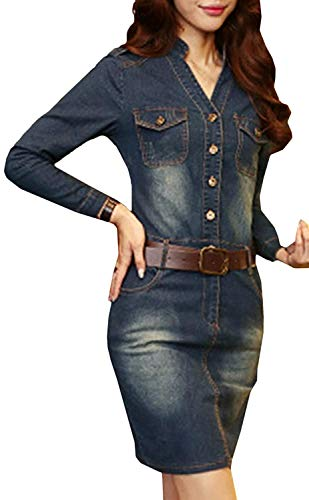 HX fashion Dames Zomer Denim Jurk Casual Comfortabele Maten V-Hals Bodycon Denim Knoop Knoop Knielengte Epaulet Denim Blousejurk Cocktailjurk Met