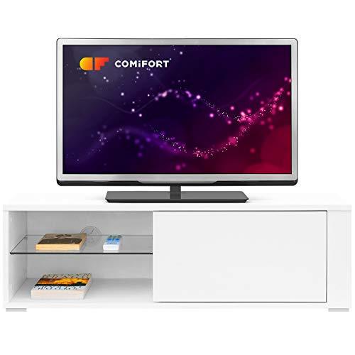 COMIFORT Meuble TV - Table pour Salon Moderne, Porte avec Système «Push», Étagère en Verre Trempé, Très Solide, Fabriquée en Europe, Coloris Blanc