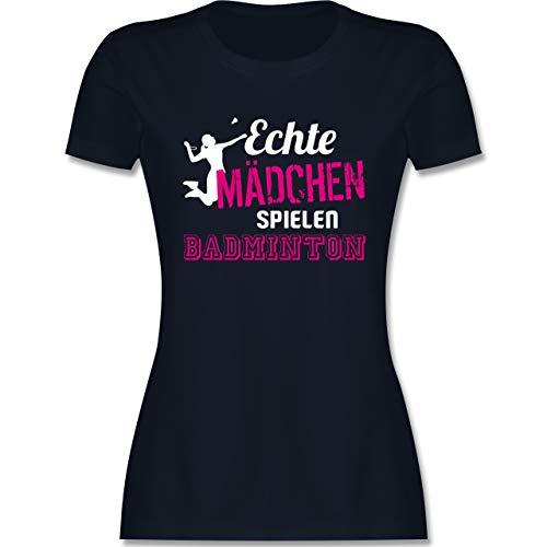 Sonstige Sportarten - Echte Mädchen Spielen Badminton - XL - Navy Blau - Bekleidung Damen t Shirts - L191 - Tailliertes Tshirt für Damen und Frauen T-Shirt