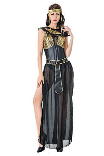 Bilicos Damen Cleopatra Kostüm Schwarz Sexy Altägyptischen Pharao Kleidung Halloween Party Cosplay Ägypten Königin Langes Kleid Schwarz XL