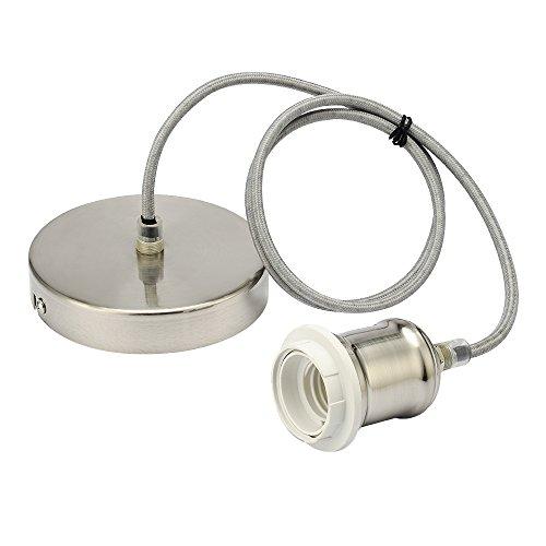 Juego de portalámparas flexible trenzado para lámparas colgantes, metal, Satin Nickl, E27 60.0W