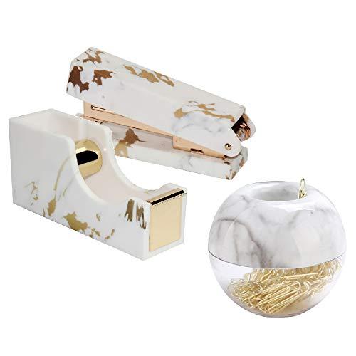 Gold Marble Printed Tape Dispenser Stapler Paper Clips Set Heavy Duty Adhesive Tape Holder Cutter Desk Stapler N Magnetic Clips Holder Gold Paper Clips Office Desk Supplies Set