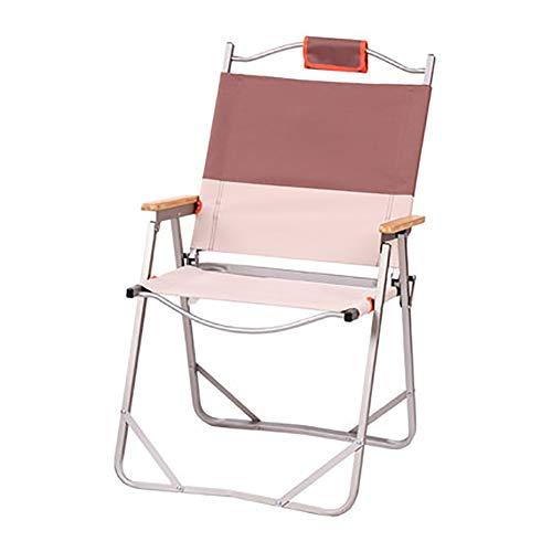 SHARESUN Outdoor vouwbare strandstoel, houten leuning aluminium licht draagbare visstoel, voor camping wandelen tuin picknick barbecue thuis volwassen, met opbergtas