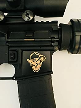 Tejas Products AR-15 Lower Magwell Customized Decal Sticker - Black - Cowboy Skull