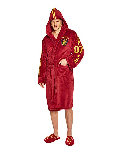 Groovy Harry Potter Quidditch Herren-Bademantel, Fleece, Burgunderrot