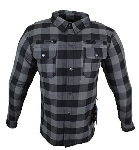 EURO STARS Motorrad- und Flanell-Holzfällerhemd mit KEV ARAMID Lumber Biker Grau Jacke Hemd (M, Grau)