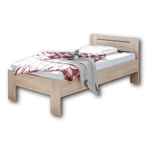 SATURN Stilvolles Futonbett 90 x 200 cm - Komfortables Jugendzimmer Einzelbett in Eiche Sonoma Optik - 95 x 76 x 204 cm (B/H/T)