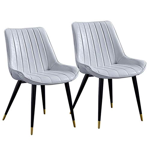 Set of 2 Dining Chairs Faux Leather Office Chairwith Backrest Upholstered Seat with Black Metal Legs Counter Lounge Living Room Corner (Color : White)