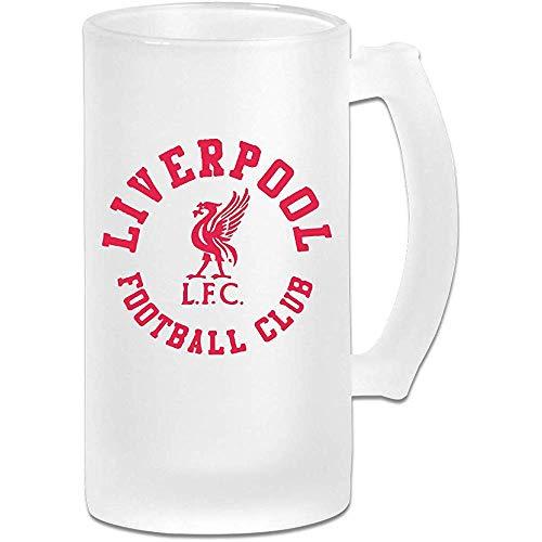 Liverpool Fútbol DIY Imprimir Vidrio Cerveza Taza de agua Taza térmica Tazas de té para viajes Regalo de fiesta de cumpleaños (Vidrio esmerilado)