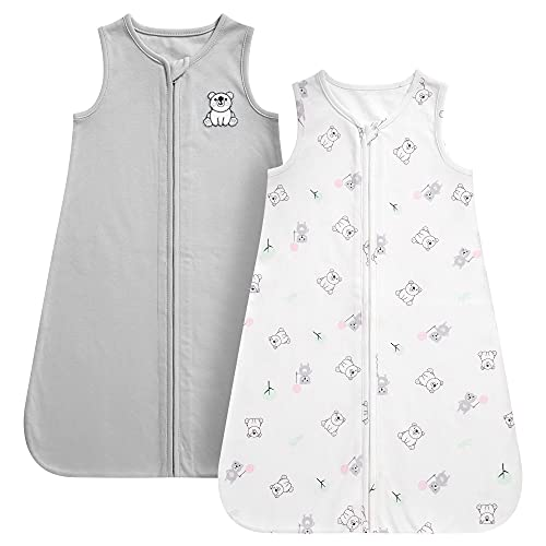 DaysU Baby Sleeping Bag 100% Breathable Cotton, Soft Baby Wearable Blanket Sleeveless with Zipper, X-Large Size Fits Baby Boys and Girls, Set of 2 - Grey Bear