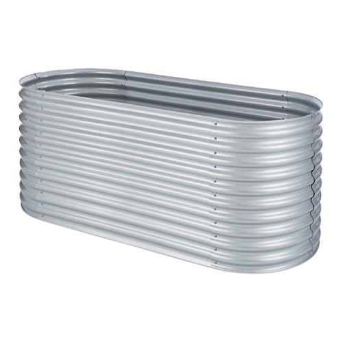 Blumfeldt High Grow Fioriera Rialzata Con Rivestimento in zinco-alluminio (100 x 80 x 200 cm, spessore 0,6 mm, sistema a strati per raccolti produttivi) argento
