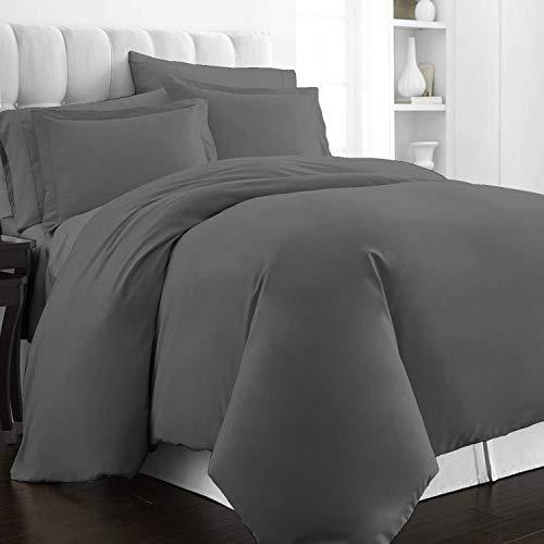 400 Thread Count Cotton Super King Duvet Cover Sets Dark Grey, 100% Long Staple Cotton Superking Quilt Cover, Luxurious Soft Sateen Bedding Set (100% Cotton Dark Gray Duvet Cover Set Super King)