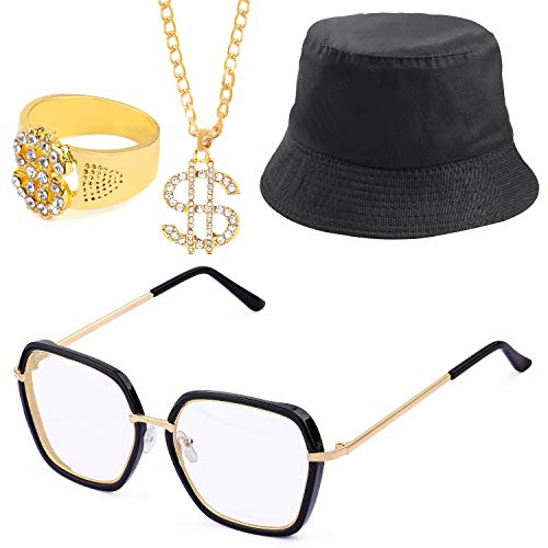 Beelittle 80er 90er Hip Hop Kostüm Set Baumwolle Eimer Hut vergoldet Dollar Halskette Ring aufblasbare Boom Box Rapper Brille - Hip Hop Zubehör Kit (A)
