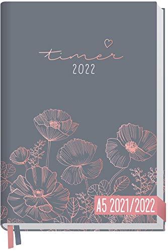 Chäff-Timer Classic A5 Kalender 2021/2022 [Poppy] Terminplaner, Terminkalender für 18 Monate: Juli 2021 bis Dez. 2022 | Wochenkalender, Organizer mit Wochenplaner | nachhaltig & klimaneutral