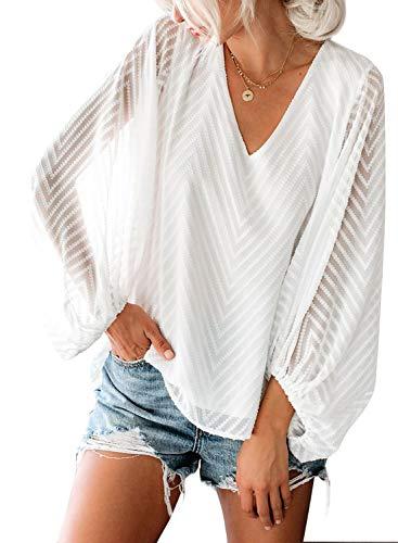 AlvaQ Womens Summer Autumn Mesh Balloon Long Sleeve V-Neck Plain Blouses and Tops Loose Shirts Fashion 2019 Plus Size White 2X