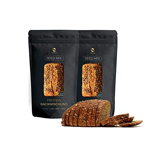 Seed Mix Eiweißbrot Backmischung 2x200 g. 20% Protein NEU!   für 1 kg Brot   Nur 4g. Kohlenhydrate   Ohne Getreide   Ohne Gluten   für Paleo, Keto, Low Carb Diät & Muskelaufbau   Starterpack