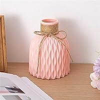 花瓶 花器ファッション ノルディックフラワー花瓶ホワイト模造セラミックフラワーポットフラワーバスケットクリスマス新年装飾装飾ホームプラスチック花瓶 (色 : Pink Vase)