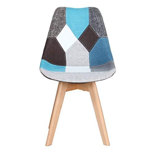 Nodic - Juego de 2 sillas de cocina, sillas de salón, dormitorio, sillas de madera (azul-C, 2)