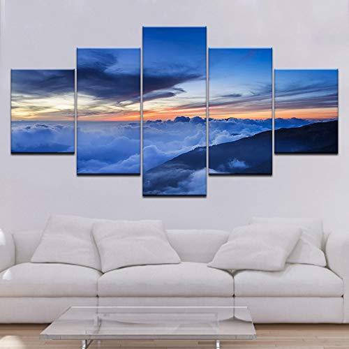 Tong99 wolken- en hemellandschap 5 planken HD-drukwandkunst moderne modulaire posterkunst-zeildoekschilderij woonkamer uitgangdecoratie L-30x40 30x60 30x80cm Geen lijst