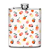 petaca Juicy Peach Fruit Outdoor Portable 304 Stainless Steel Leak-Proof Alcohol Whiskey Liquor Wine 7OZ Pot Hip Flask Travel Camping Flagon for Man Woman Flask Great Little Gift personalised funny