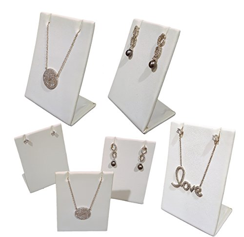 6-Pack White Leatherette Pendant Chain Necklace Display Stand 3.5' Tall Leaning Earring Stand Jewelry Display