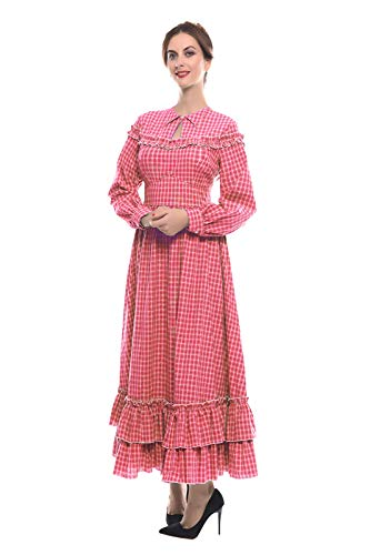 NSPSTT Women Girls American Pioneer Colonial Dress Prairie Costume (X-Large, Red)