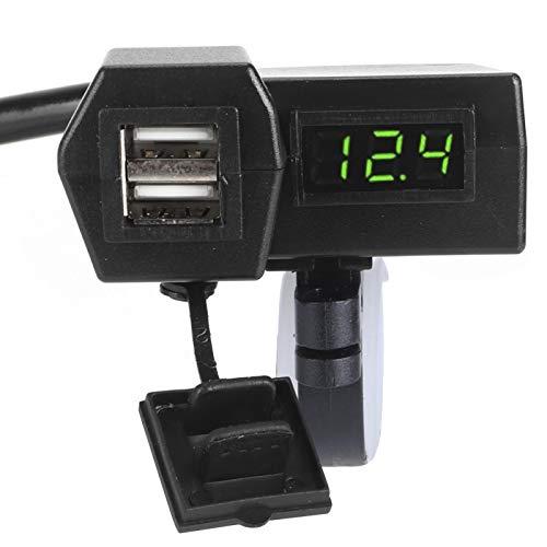 Universal con Display Cargador Socket Adaptador de motocicleta con voltímetro 12-24V ABS(Green light)