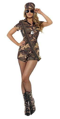 Smiffys, Damen Sexy Armee Girl Kostüm, Kurzoverall, Gürtel und Mütze, Größe: M, 28864