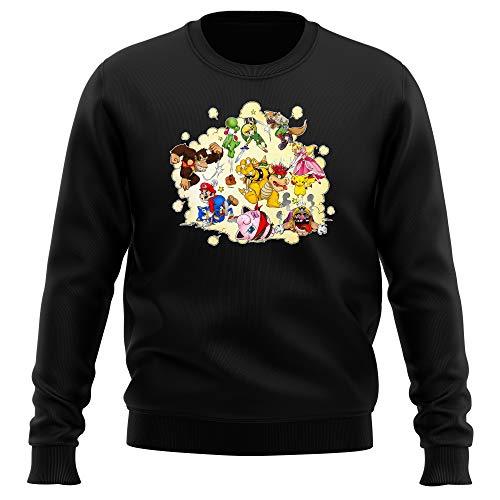 Pull Noir Parodie Super Smash Bros - Mario, Link, Fox, Bowser, Pikachu et Wario - Baston Générale à la Sauce gauloise (Sweatshirt de qualité Premium d