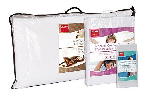 Set de descanso Pikolin Home para cama 150 - Funda de colchón impermeable y transpirable (150 x 190/200 cm), dos almohadas de fibra antiácaros (40 x 75 cm) y dos fundas de almohada lyocell (40