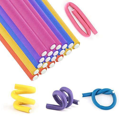 AIEX 20 Varillas Flexibles Para Rizar Rodillos De Espuma Giratorios Para El Cabello, Rodillos Para Varillas De Espuma Suave Sin Calor, Para Herramientas De Peinado y Rizado Del Cabello (Color mixto)