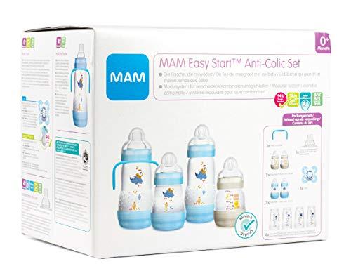 MAM Easy Start Anti-Colic Babyflaschen Set, mitwachsende Baby Erstausstattung mit Schnuller, Flaschen etc., Baby Geschenk Set, ab Geburt, blau