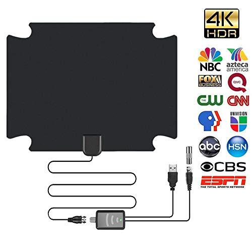 SHOH Nieuwste indoor-tv-antenne, 80-1000 mijlen digitale HDTV-antenne met antenneversterking, DVB-T 4K 1080P HD VHF UHF voor lokale kanalen met signaalversterker, ondersteuning van alles televisie