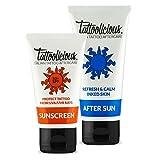 Tattoolicious COMBO SUN - SUNSCREEN 50+SPF Protezione solare per tatuaggi Anti-sbiadimento, con principi Attivi Bio, 75 ml + AFTER SUN Doposole per tatuaggi con principi Attivi, 100 ml