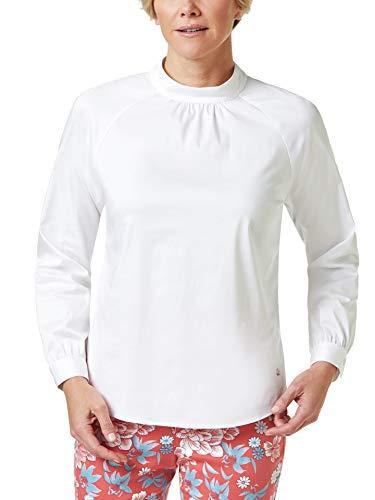 Walbusch Damen Ultrastretch Stehkragen Shirtbluse einfarbig Weiß 48 - Langarm
