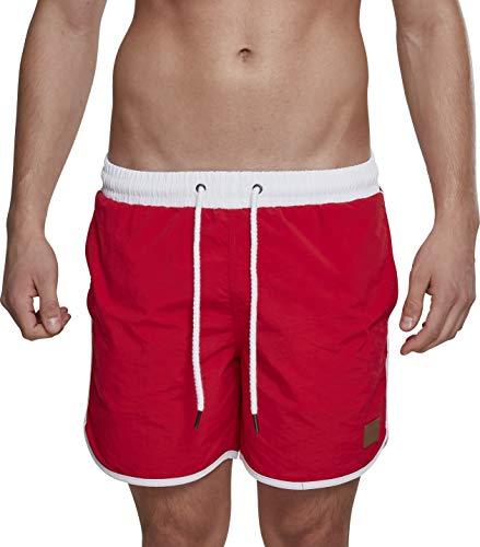 Urban Classics Retro Swimshorts Pantalones Cortos, Rojo, XL para Hombre