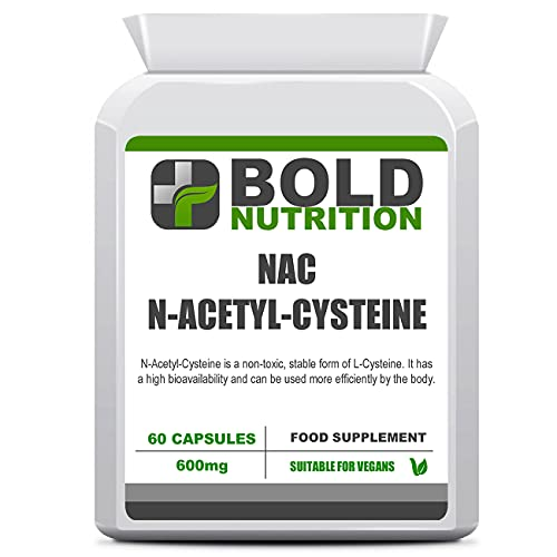 Bold Nutrition NAC - N-Acetyl-Cysteine 600mg 60 Vegan Capsules   Amino Acid   Antioxidant   Supports glutathione Production   Supports Healthy Liver & Lung Function   Suitable for Vegetarian & Vegans