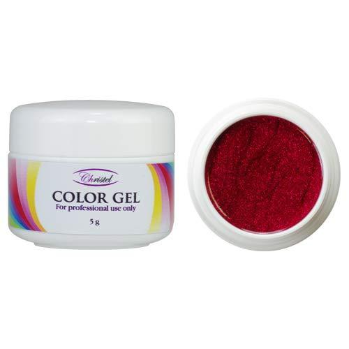 CHRISTEL: UV kleurgel - Hibiscus - 5g - wijn gekleurd met glitters - hoge kwaliteit, geschikt voor professioneel gebruik