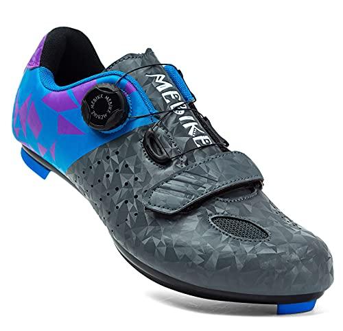 MEBIKE Women Cycling Shoes Lady Road Bike Shoes Women Bicycle Shoes Lady High-Way Bike Lock Shoes Lady Road Riding Shoes with Rotary Buckle (Numeric_8) Grey/Blue